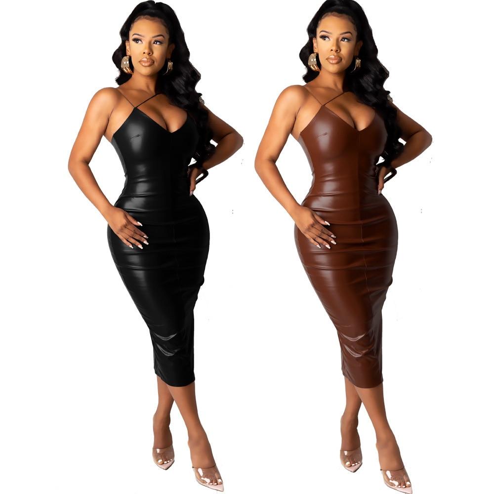 Brown couro do plutônio elegante magro ajuste vestido de festa feminina cinta de espaguete sem mangas vestido bodycon sexy sem encosto alto split vestido magro