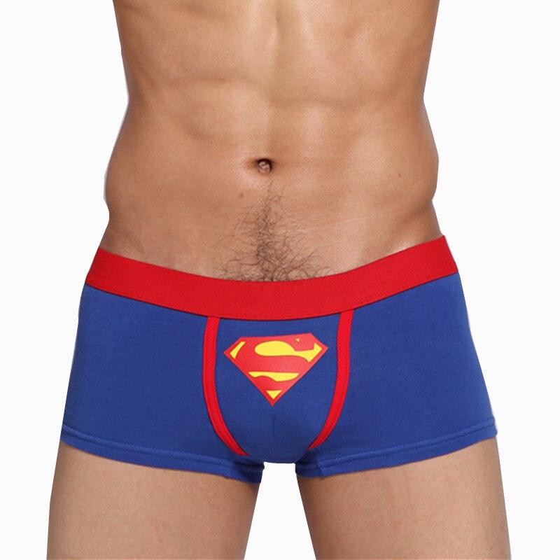 Мужское нижнее белье, хлопковые трусы, мужские трусы-боксеры с низкой посадкой, трусы Супермена, трусы супергероев, мужское дышащее нижнее белье супергероев