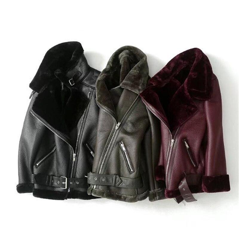 Faux Shearling Sheepskin Leather Jackets for Women Winter Warm Faux Rex Rabbit Fur Lined Motorcycle Street Coat Lapel Overcoat enlarge
