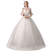 2019 New Simple O Neck Half Sleeve Cheap Wedding Dress Noble Lace Embroidery Flower Floor Length Wedding Gown Vestido De Noiva