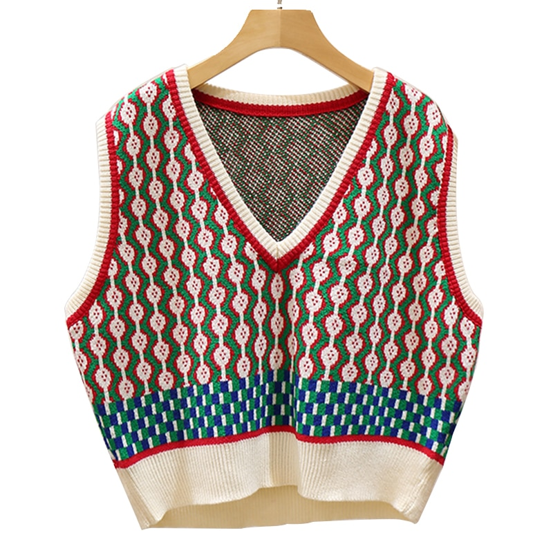 Vintage Spring Autumn Vest Women 2021 New V Neck Fashion Knit Tank Tops Female Casual Loose Sleeveless jacket For