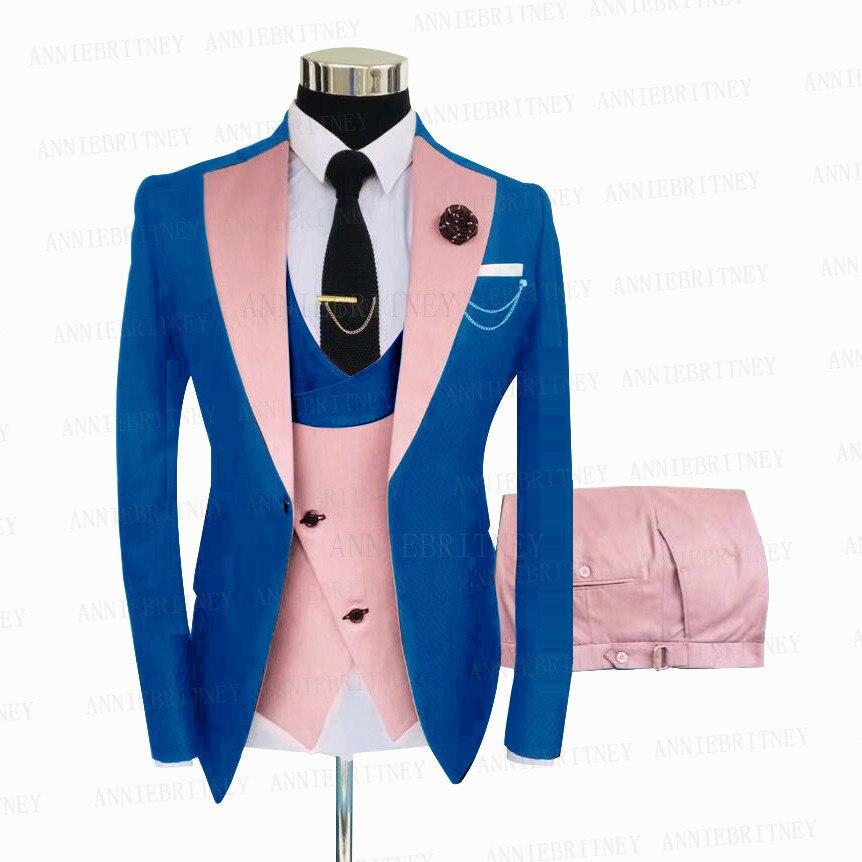 بدلة رجالية زرقاء ملكية ، ضيقة ، بدلة زفاف ، بدلة سهرة ، بدلة عشاء ، سترة وسروال