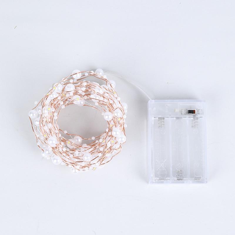 Guirnalda de luces LED de alambre de cobre perlado para fiestas, cumpleaños, bodas, Navidad, bodas, decoración del hogar