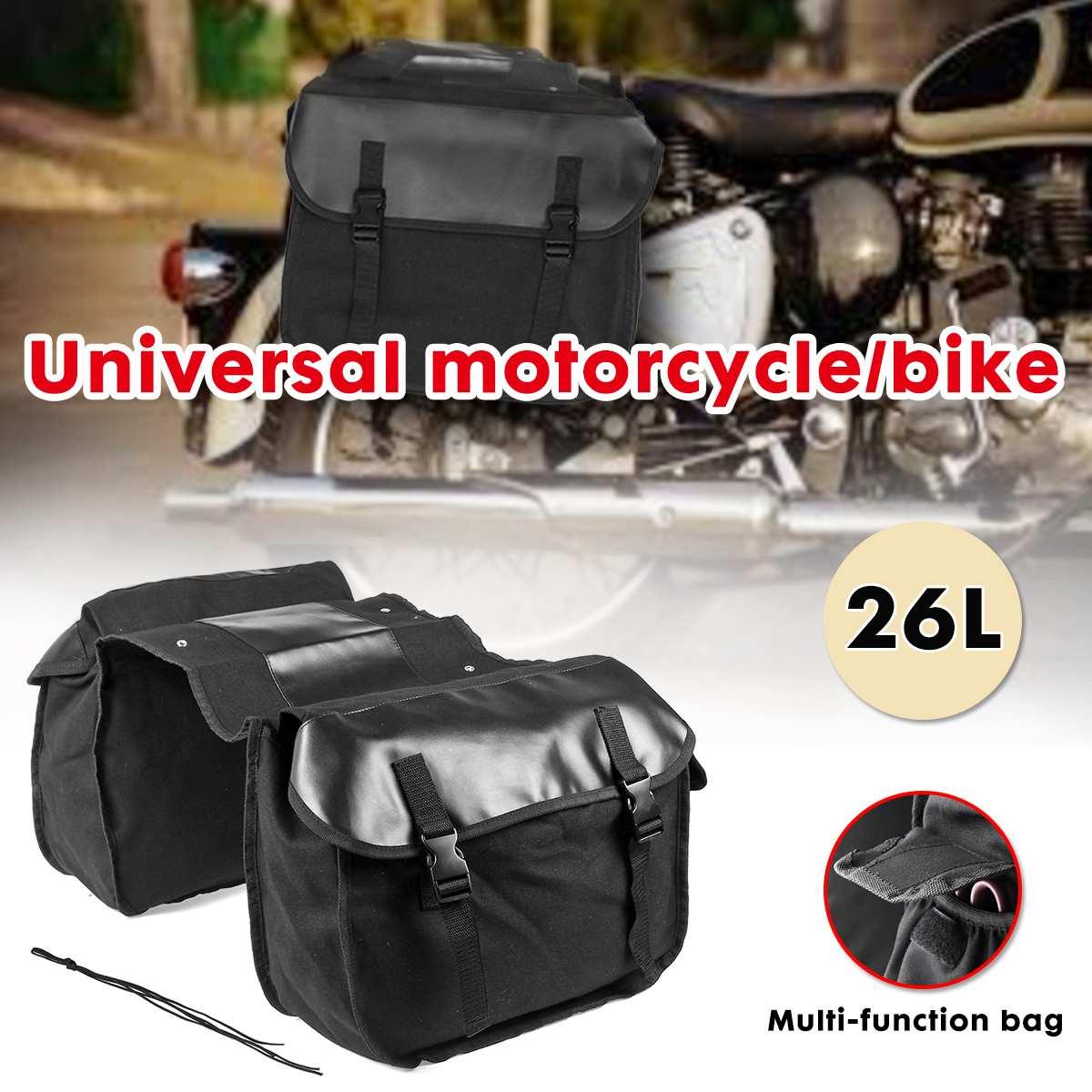 Universal  26L Padded Cargo Storage Gas Tank Luggage Saddle Bag Canvas For ATV / UTV / Motorcycle Side Bag Accessories