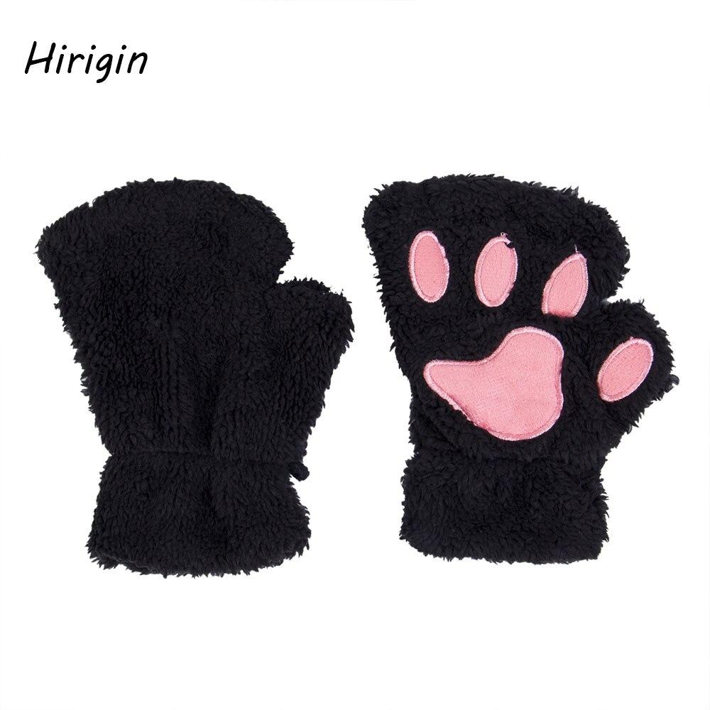Guantes de invierno suaves de oso y gato afelpado con garra de la pata para niña 2020, guantes sin dedos más cálidos, 6 colores, manopla de mitad de dedo
