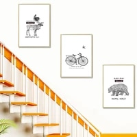 scandinavian style elk nest poster black white bear bike cycle canvas painting wall art picture living room nordic home decor
