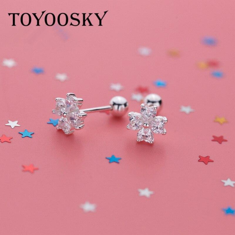 TOYOOSKY, 100% Plata de Ley 925, flor romántica, pendientes de tuerca de circonita cúbica transparente, tuerca posterior para niñas, joyería para mujeres