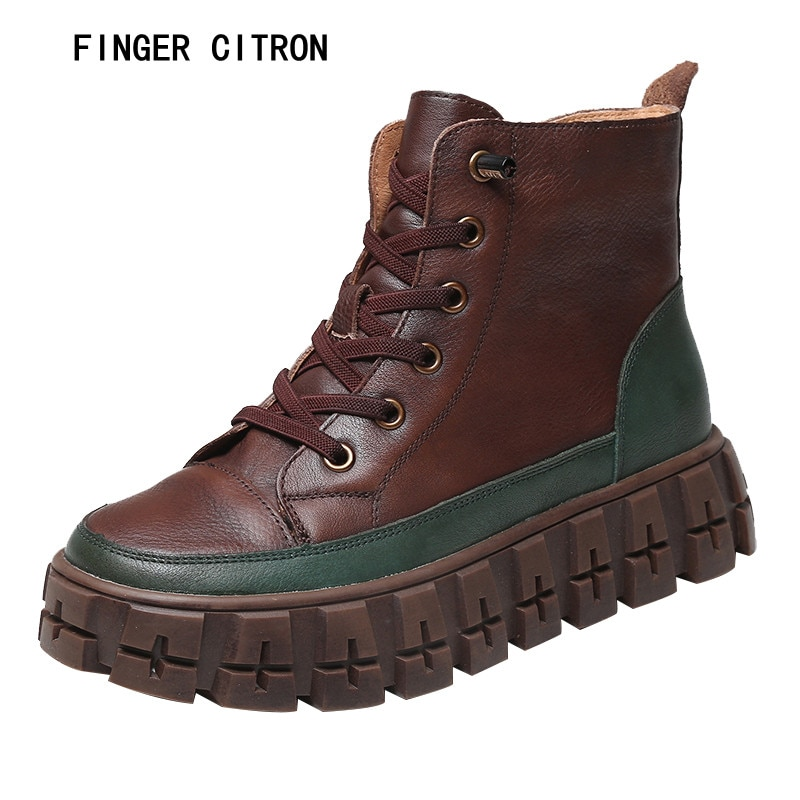 Finger Citron Women Classic Anckle Boot Genuine Cow Leather Mixed Color Round Toe Rubber Outsole Ant