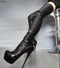 Olomm femmes plate-forme cuisse haute bottes flexibles talon aiguille bottes bout rond noir boîte de nuit chaussures femmes grande taille américaine 5-15