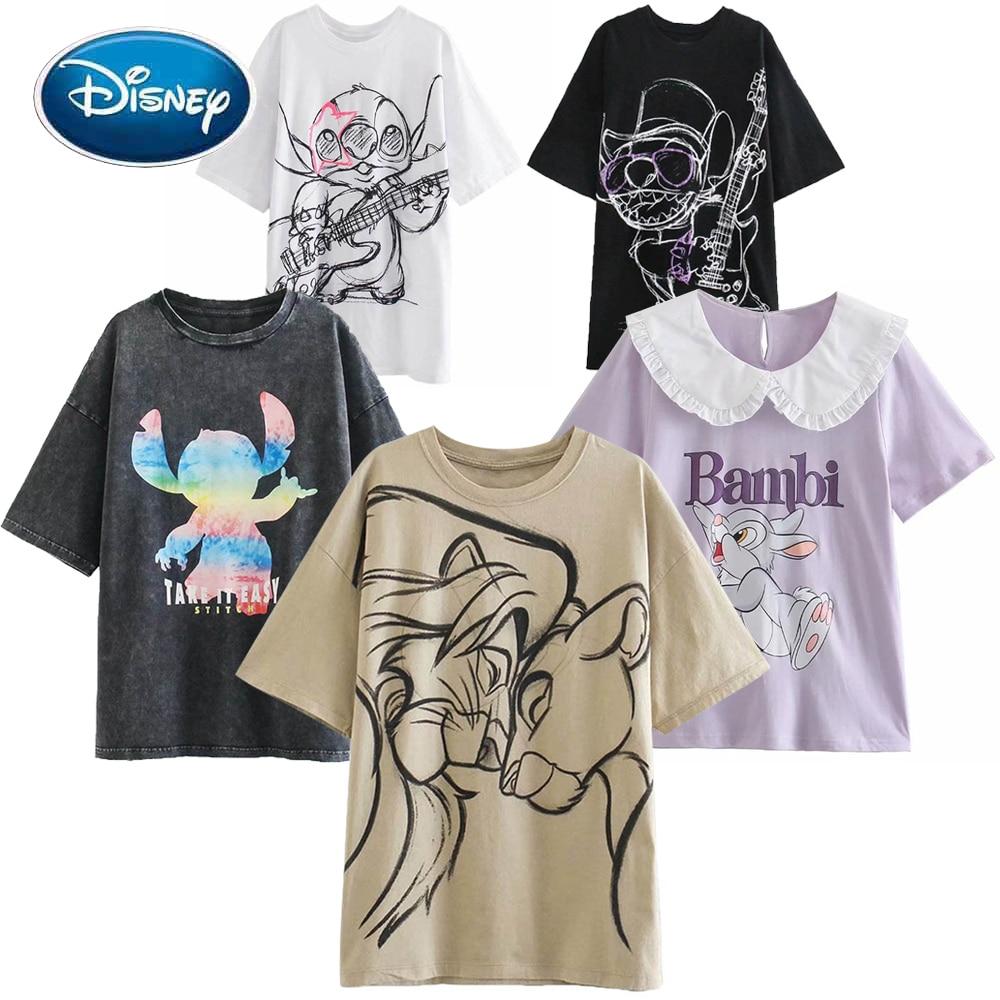 Disney Fashion Snow White Princess Mickey Mouse Cartoon Print Women T-Shirt Casual O-Neck Pullover Short Sleeve Loose Tee Tops