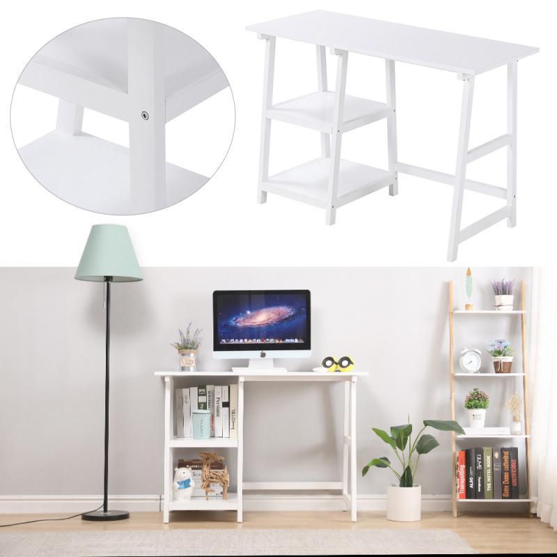 Белый верстак с двумя полками 112*50*76 см, легко перемещать, собирать и чистить компьютерные столы, подходит для офиса и учебы