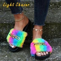summer casual slippers outer wear thick soled rainbow plush womens slippers fashion chain shaped sandals and slippers women
