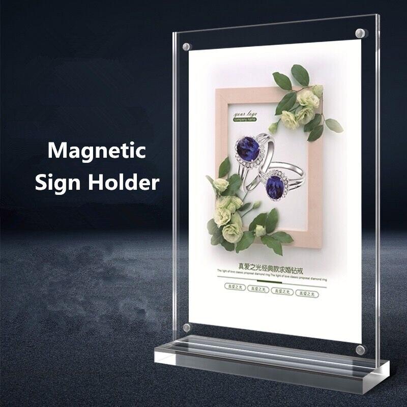 A4 T-образная двусторонняя магнитная Акриловая вывеска держатель для карт стенд меню бумажные стенды рамка для столов ресторанов вывеска