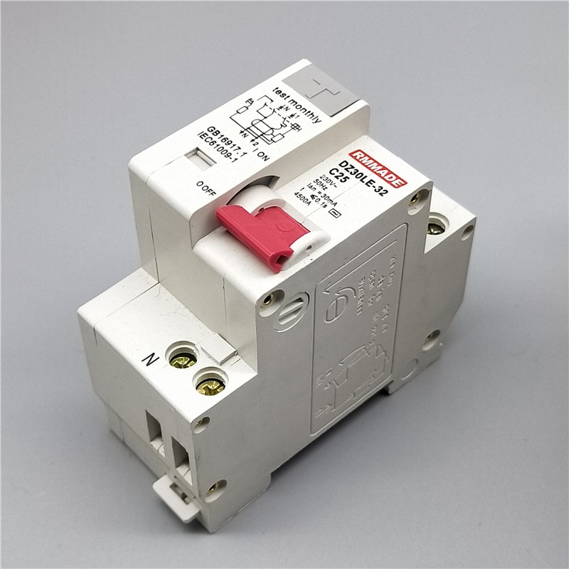 DZ30LE-32 2P 1P + N pequeño Protector de fugas para el hogar interruptor de aire DPN doble entrada, doble salida, doble cable 16/20/25A Mini disyuntor