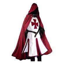 Costumi di tunica templare dei cavalieri crociati medievali da uomo rinascimento Halloween soprabito guerriero mantello nero della febbre Cosplay Top S-3XL