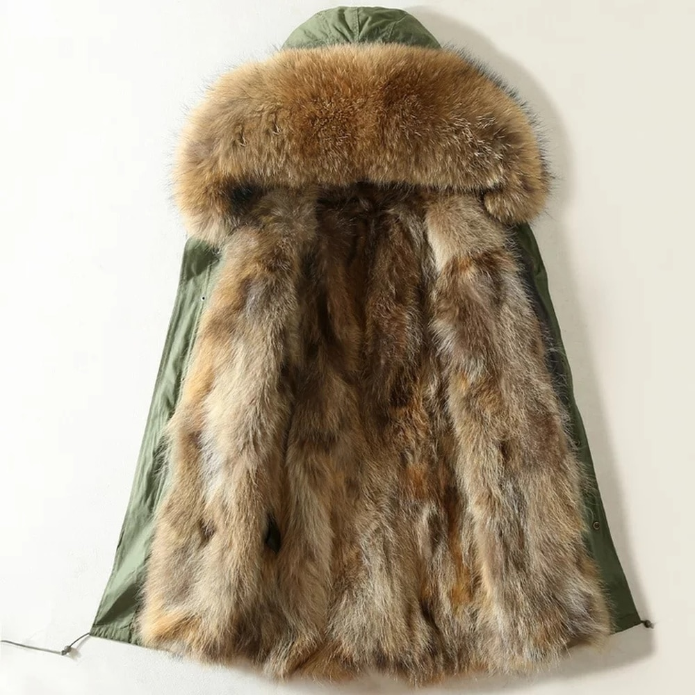Mens Real Mink Fur Hooded Collar Detachable Lined Mid Long Winter Warm Coat Parka Overcoats Plus Size