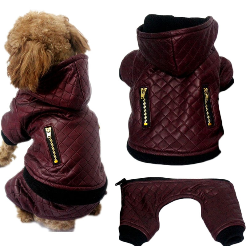 Ropa de piel sintética para perros, Abrigo con capucha con patrón de rombo para invierno, pantalones, pantalones desmontables, mono, ropa de disfraz para perros pequeños