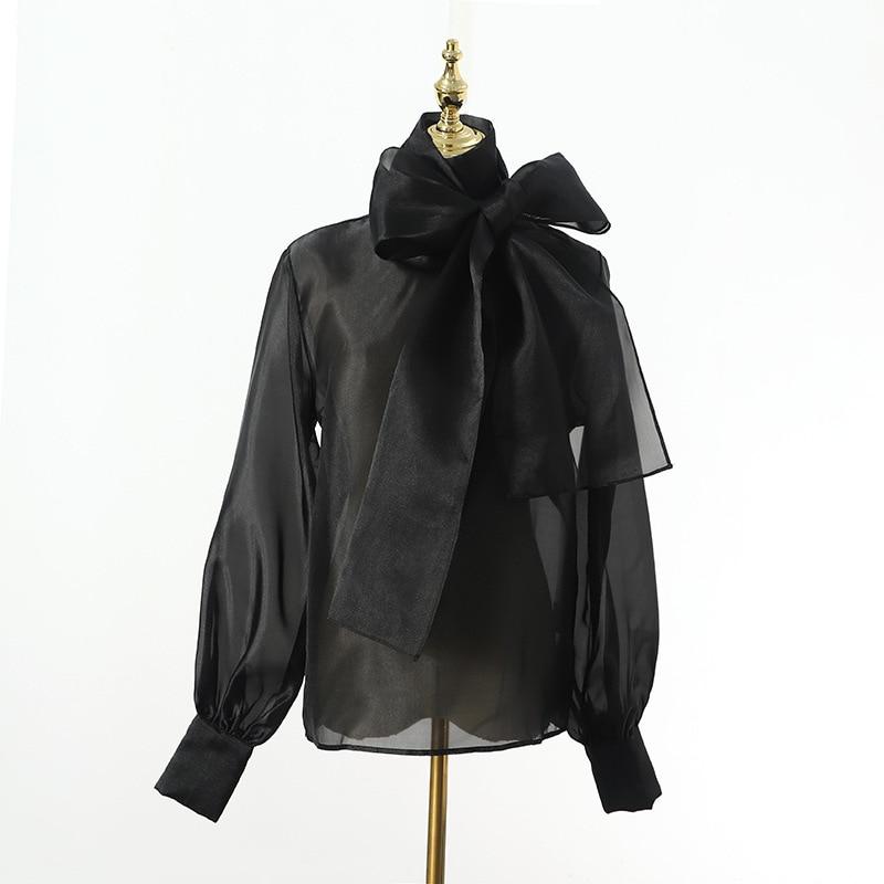 Черно-белая прозрачная блуза из органзы, женские блузки, топ с пышными рукавами, сексуальные топы с бантом, сетчатая блузка, Femme Blusa Transparente Mujer