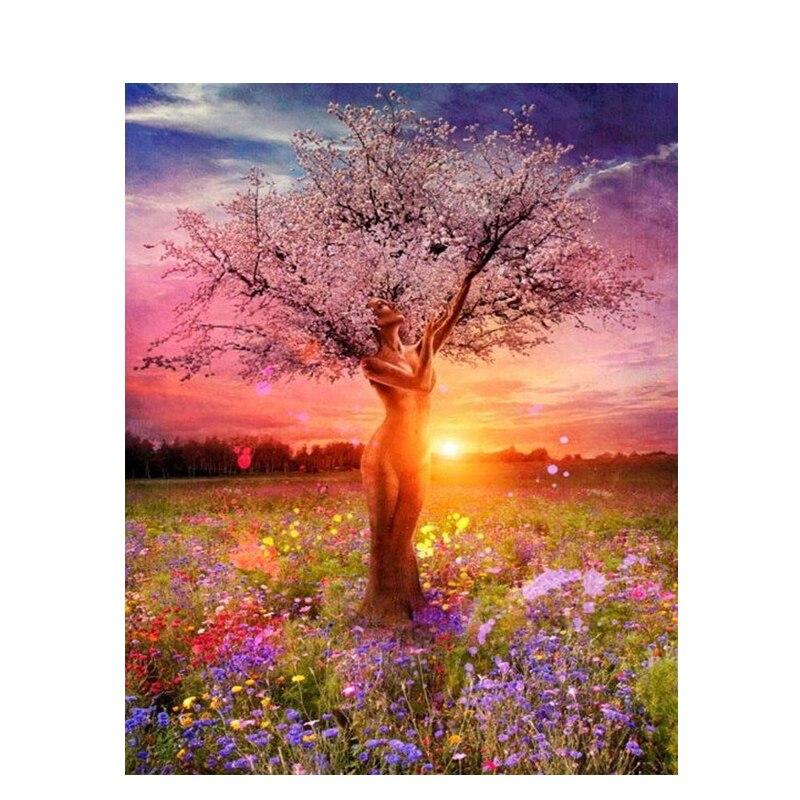 Kit de pintura por números con marco Diy de 10 árboles de belleza al atardecer, cuadro de arte de pared moderno, pintura pintada a mano por números para decoración del hogar