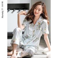 Women\'s Pajamas Summer Silk Ice Silk Short Sleeve Trousers Home Wear Summer Thin Artificial Silk Satin Two-Piece Suit