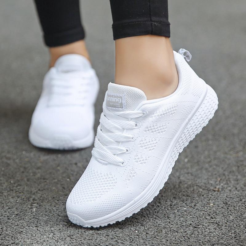 Women Casual Shoes Fashion Breathable Walking Mesh Flat Shoes Sneakers Women 2020 Gym Vulcanized Shoes White Female Footwear