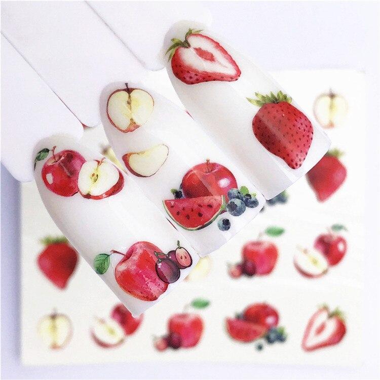 1 pçs maçã fruta natal adesivos de unhas flores pplants água decalque gato padrão 3d manicure adesivo arte do prego decoração m3pd35