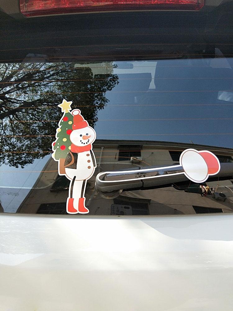 Zttzdy árvore de natal boneco de neve decorar carro janela traseira adesivo YJ3-0027