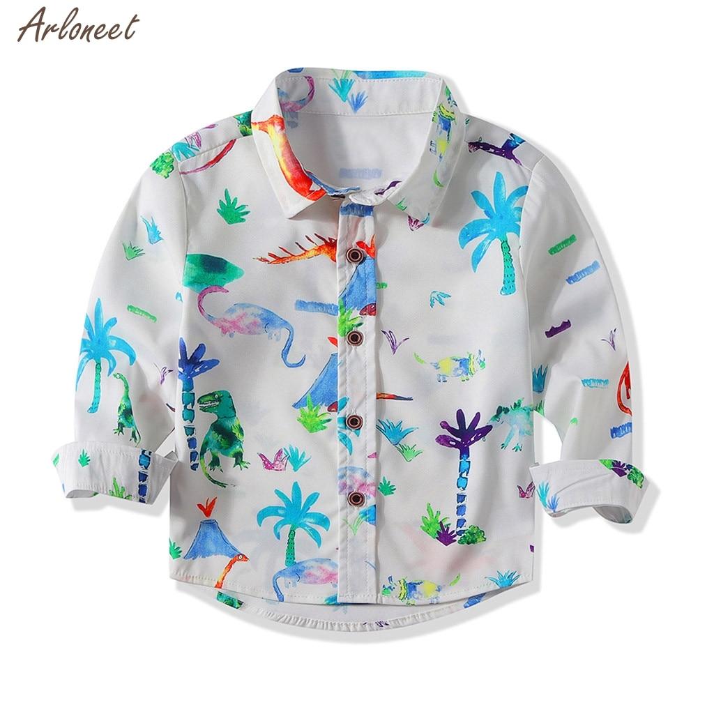 Toddler Kids Baby Boys Cartoon Dinasaur Print Shirt Tops Clothes Outfits Blouse Boys Tops Kids Clothes 2020 Fashion New