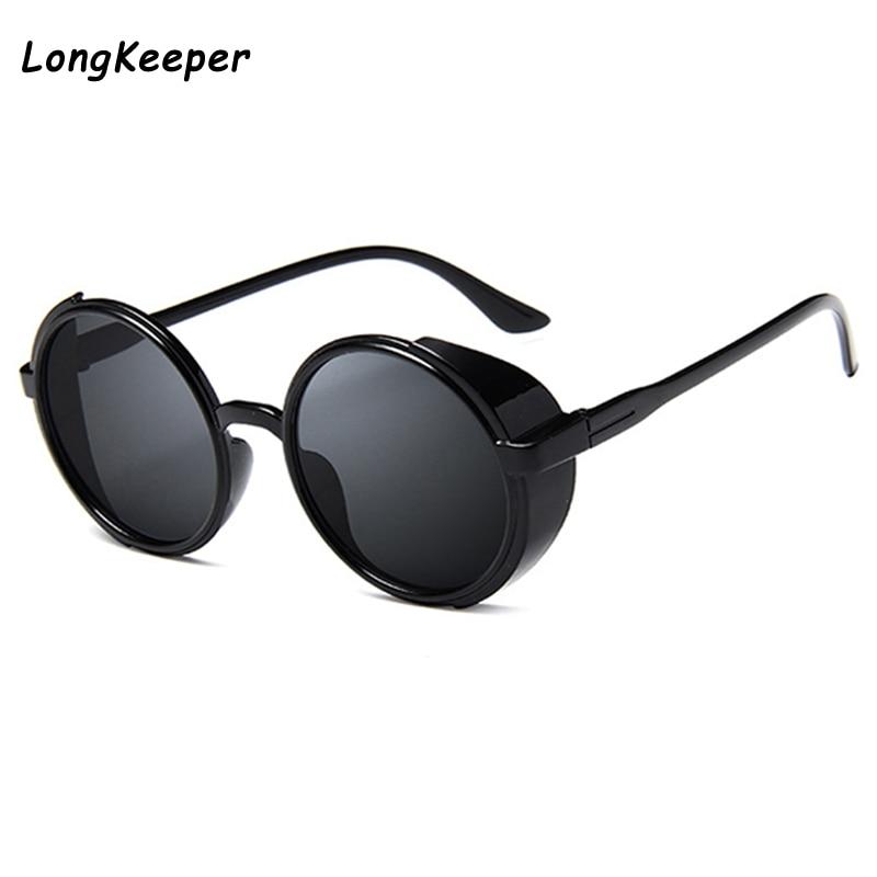 Солнечные очки Long Keeper в стиле стимпанк женские, винтажные маленькие круглые зеркальные солнечные очки в стиле панк, с разноцветными линзами...
