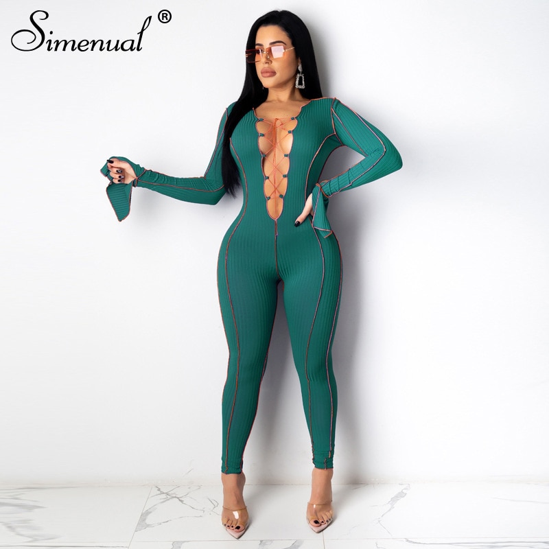 Simenual Ribbed Deep V Neck Lace Up Rompers Womens Jumpsuit Patchwork Long Sleeve Bodycon Fashion One Piece Outfits Sexy Autumn