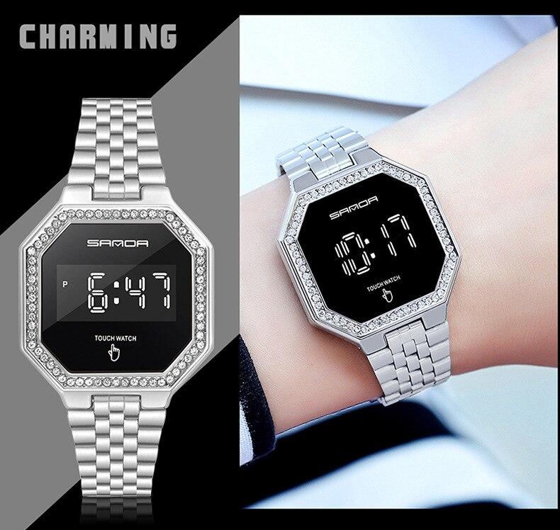 SANDA Luxury Women Watches Fashion Waterproof LED Steel Diamond Dial Ladies Digital Wrist Watches Girls Gift Relogio Feminino enlarge
