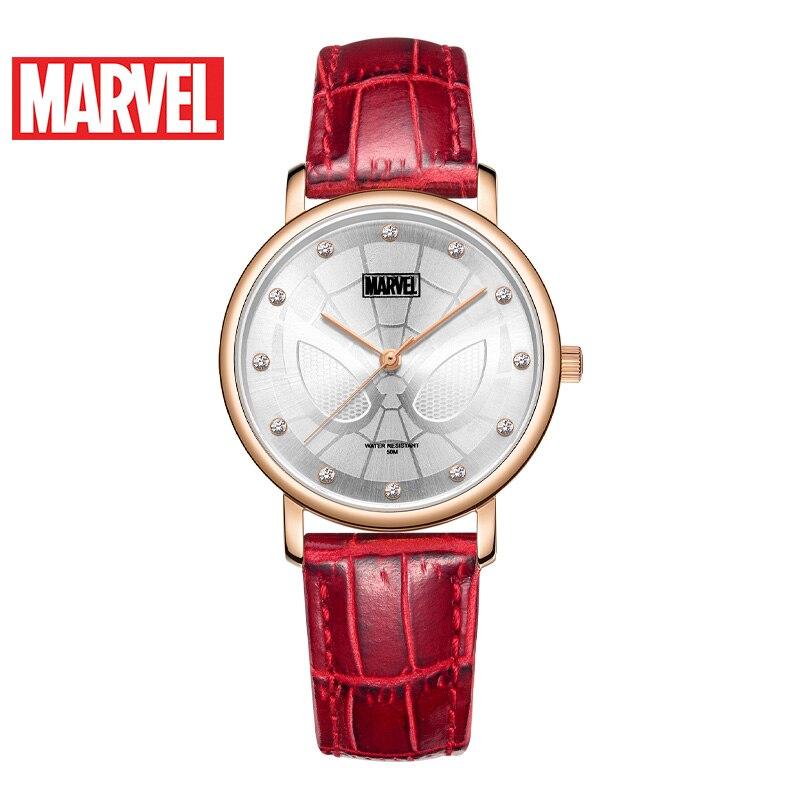 Disney Original Marvel Avengers Spider Man Luxury Women Fashion Quartz Lady WristWatches Rhinstone Thin Case 50M Dress Elegant enlarge