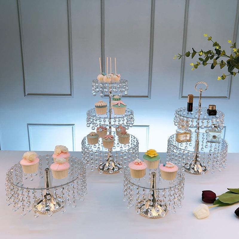Platón acrlico multicapa para pastel cristal mesa de postres de boda... decoracin...