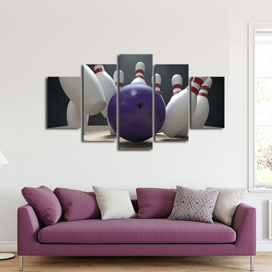 وحدات قماش صور 5 قطع مجموعة بولينج أطفال الرياضة لوحات الأعمال الفنية الحديثة HD يطبع المشارك غرفة المعيشة ديكور جدار الفن الإطار