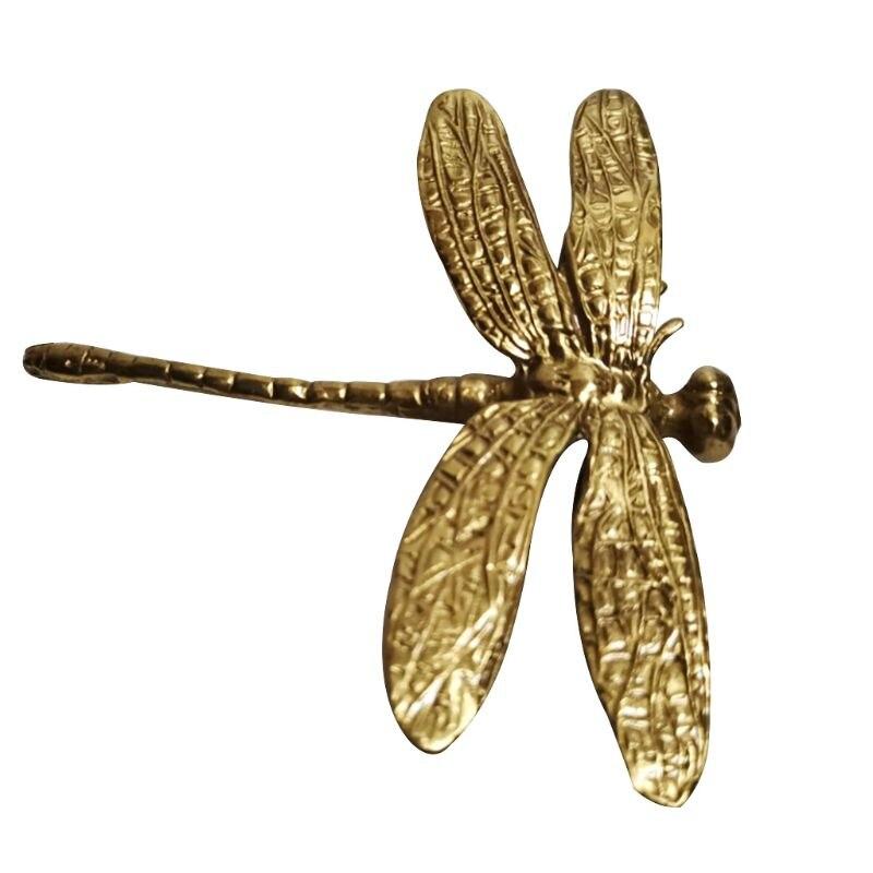 Tiradores de libélula de cobre puro cajón dorado Tiradores para armario