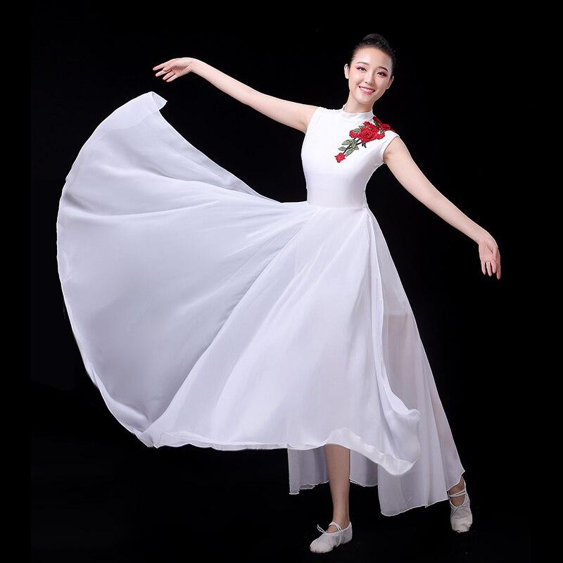 Классическая танцевальная одежда, Женский сценический костюм, белое платье фламенко, летняя Цыганская юбка, открытая танцевальная одежда, ...