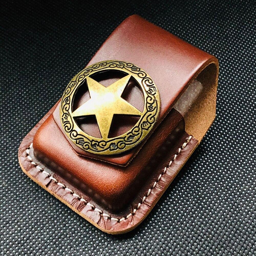 Funda de mechero de cuero hecha a mano para cigarrillo portátil, caja con soporte para encendedor para Zippo, cierre de cuero negro y marrón, bolsa para encendedor YJ577