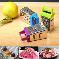 mini four sided plane stainless steel grater multi function vegetable cutter can be hung and stored random colors