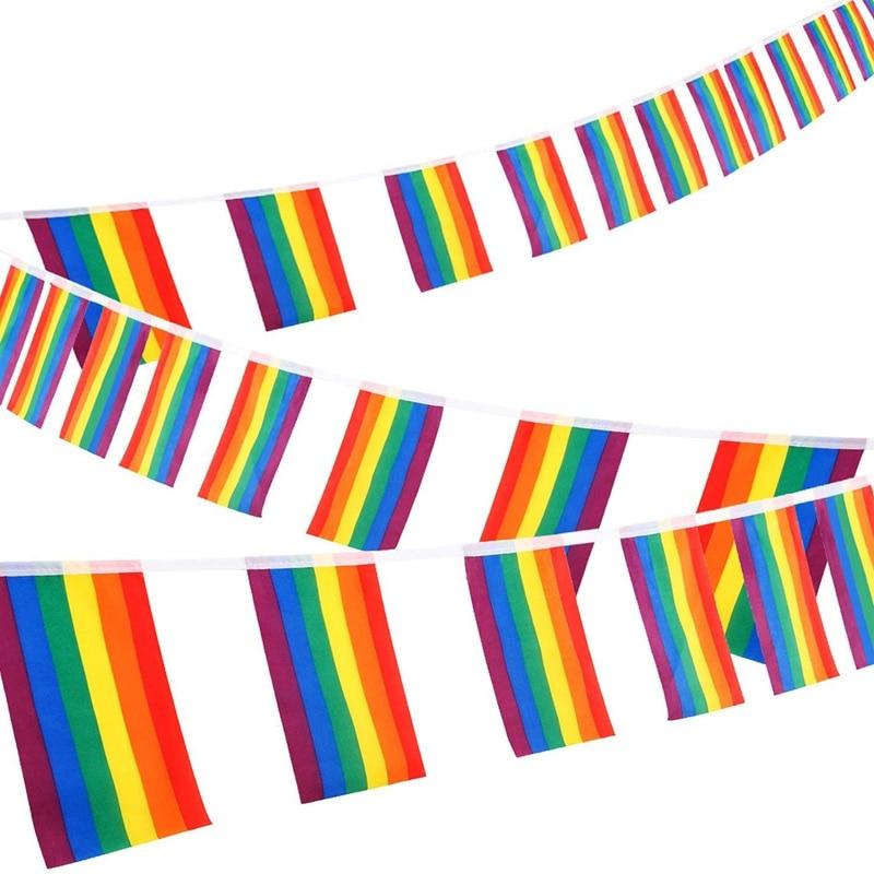 Venda quente 30ft arco-íris string bunting banner gay orgulho bandeiras retângulo colorido listras para lgbt festival carnaval casa bares 38pc