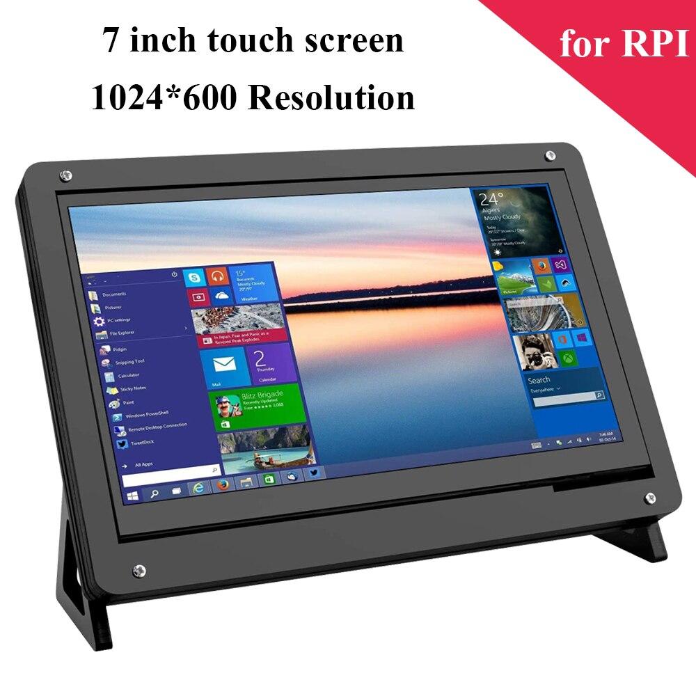 Raspberry Pi de 7 pulgadas de pantalla táctil 1024*600 TFT pantalla HDMI LCD acrílico soporte para Raspberry Pi 4 3 Modelo B 4B 3B 3 B + Plus +