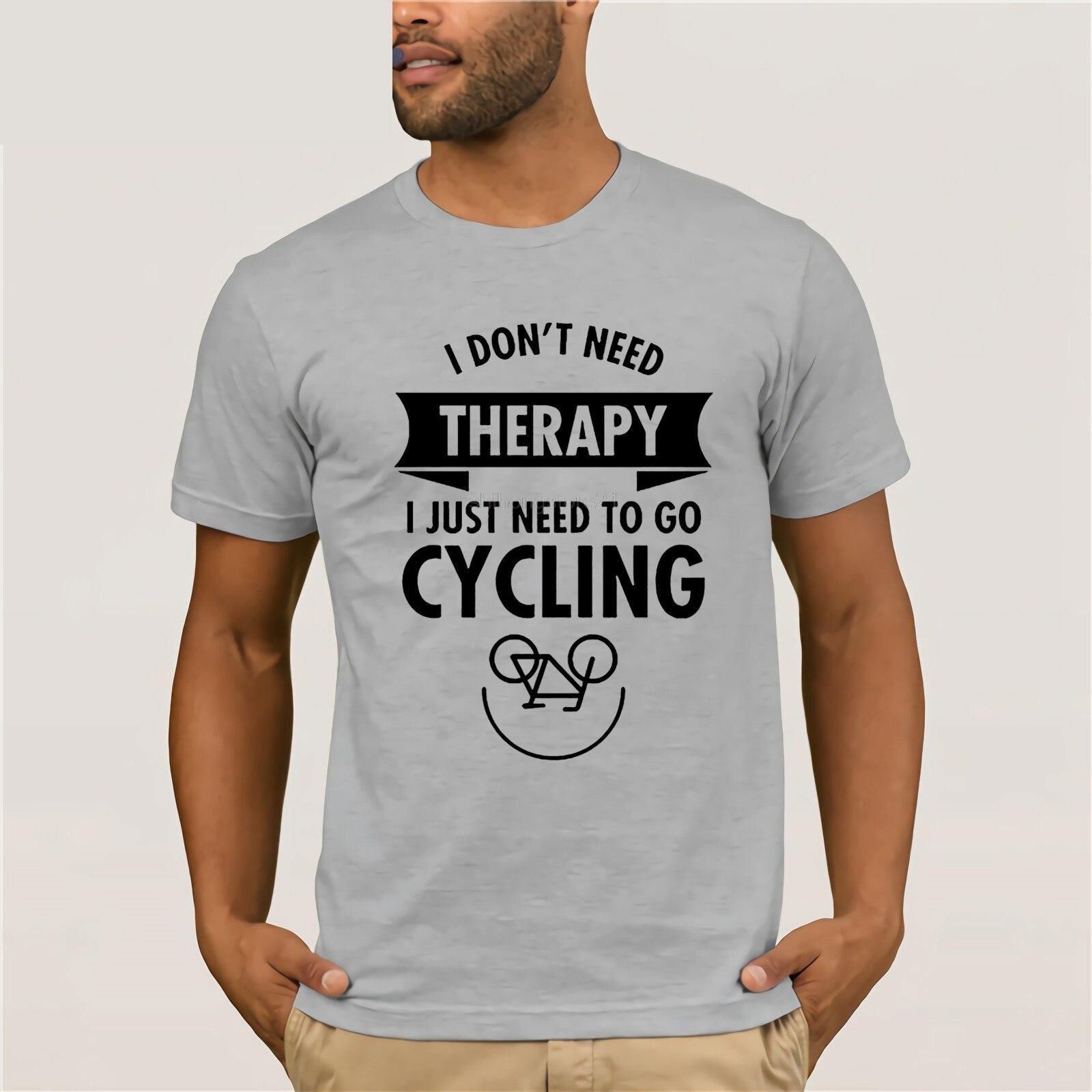 Camiseta con estampado de diseño de manga corta para hombre con estampado de diseño personalizado a medida I Dont Need Therapy I Just Need To Go bicycle