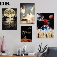psychedelic art collage moon surreal poster prints oil painting on canvas wall art murals pictures for living room decoration