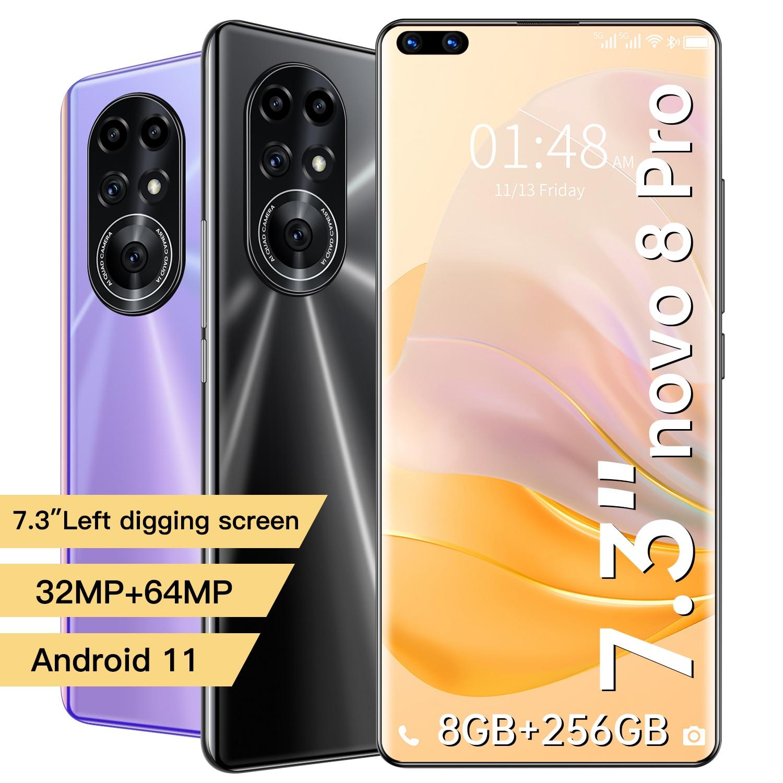 Novo8 برو 7.3 بوصة اليسار حفر شاشة الهاتف المحمول الأرجواني هاتف ذكي العالمي 2021 المزدوج سيم بطاقة Andriod 11 عشاري النواة MTK6889 +
