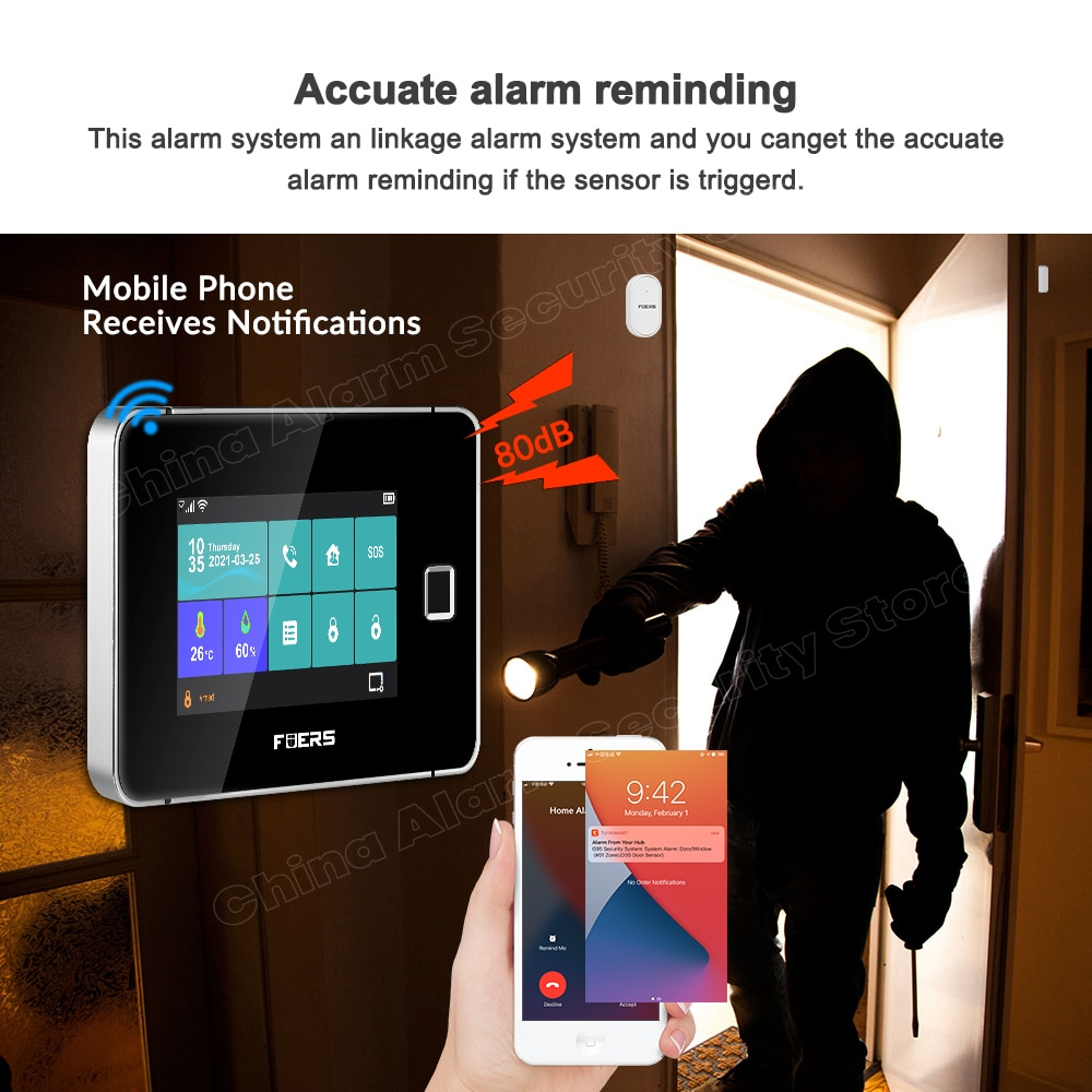 FUERS Smart Home Tuya Alarm System WiFi GSM Security Touch Screen Accurate Fingerprint Arm Disarm Wireless Fire Smoke Sensor Kit enlarge