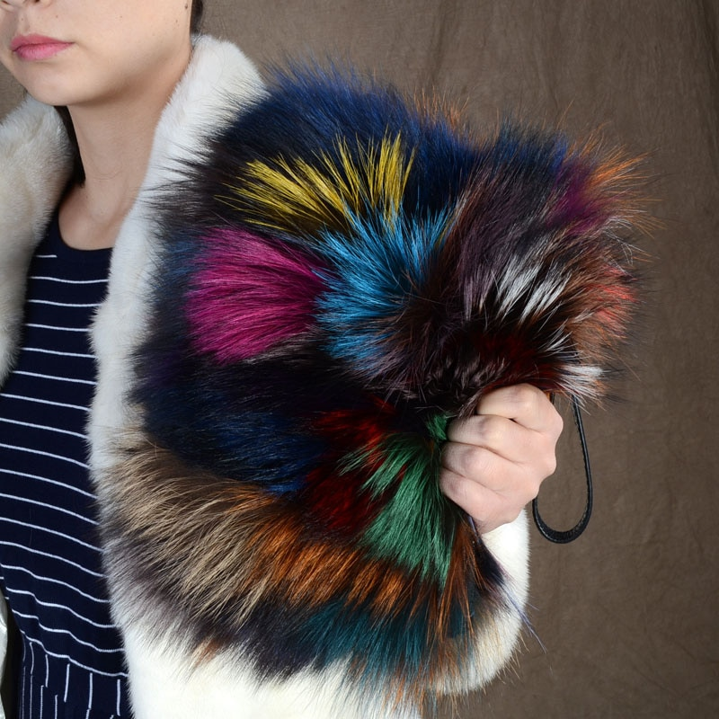2021 Fashion High Quality Women's Fox Fur Handbag Luxury Ladies Winter Shoulder Bag Fashion Party Clutch