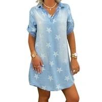 streetwear denim swing dress women star print lapel short sleeve mini party dresses loose casaul shirt dress vestidos mujer