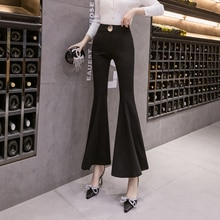 Wide-Leg Bell-Bottoms Women's Spring and Spring 2021 New High Waist Slimming Elastic Drape Cropped C