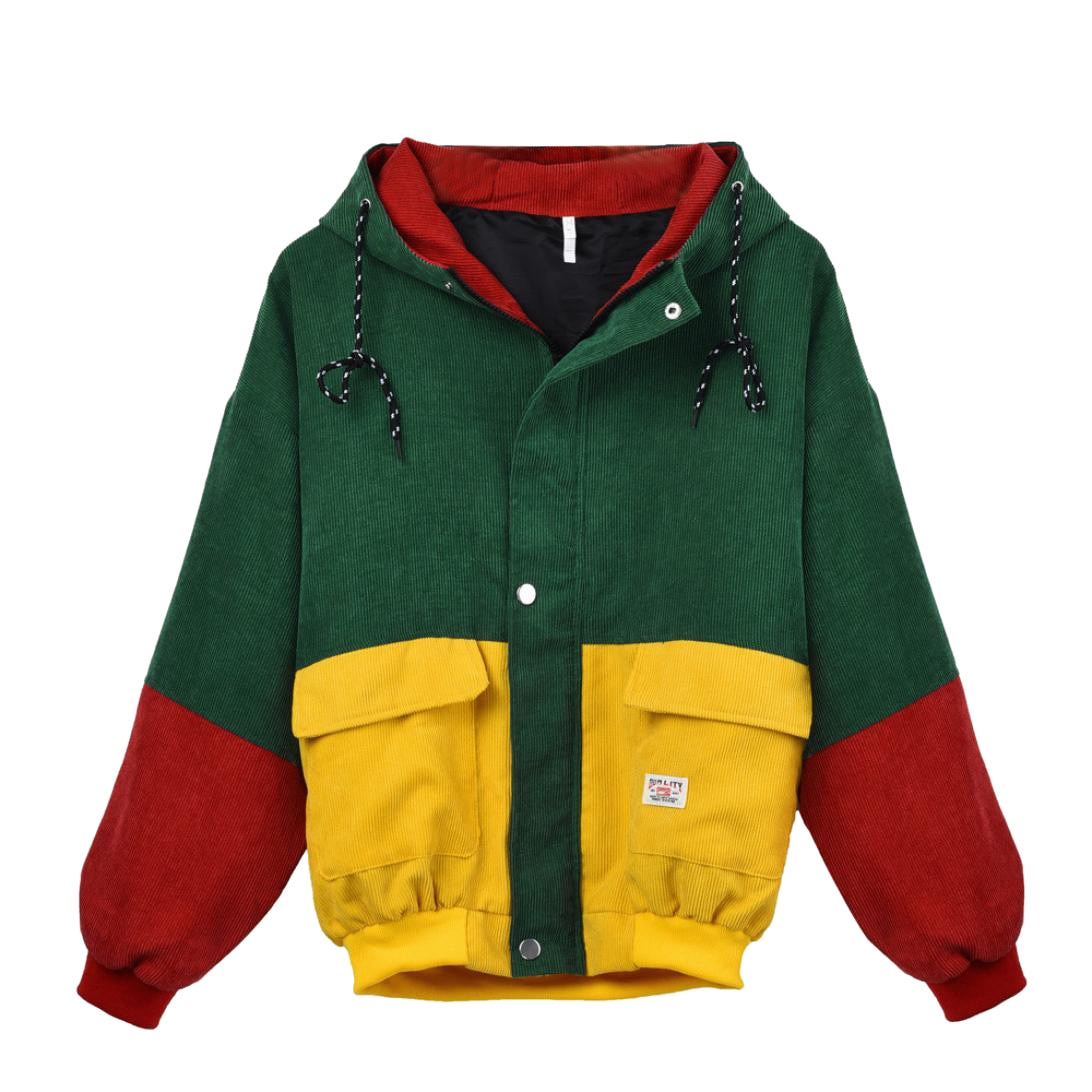 Otoño Invierno abrigos chaquetas de mujer de manga larga de pana de retazos de gran tamaño chaqueta rompevientos abrigo