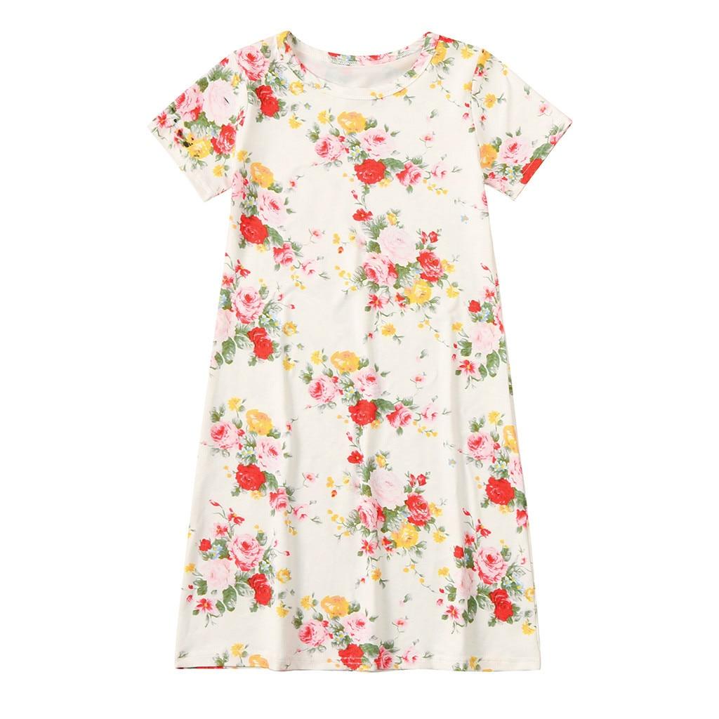Niñas camisón niños niñas pequeñas estampado Floral camisón vestidos manga corta Camiseta camisón algodón vestido camicia da notte