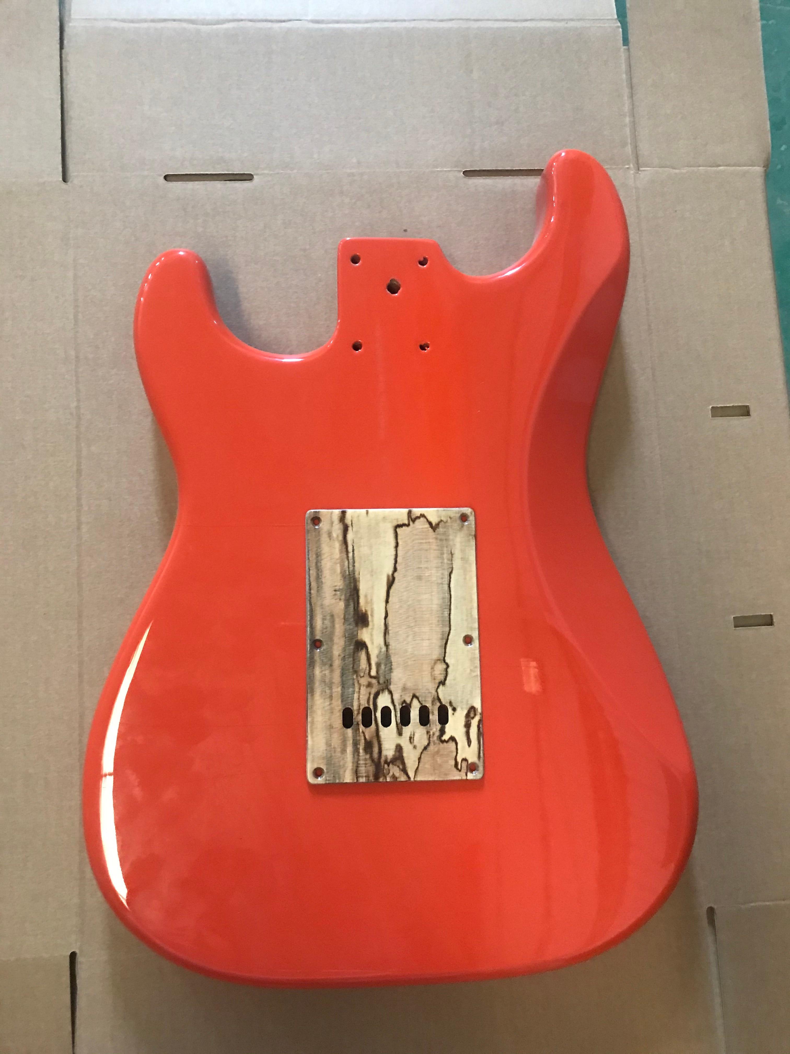 A set of Strat Electric Guitar Body Guitar Barrel Orange Color Alder Guitar Panel & Pickguard & Backpalte Manual DIY enlarge